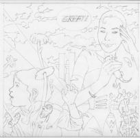 In the garden painting Ist pencil sketch Comic Art
