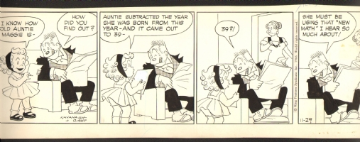 11/29/1966 Bringing Up Father - day of my birth strip, Comic Art