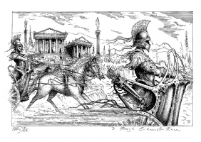 Chariot Race Comic Art