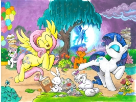 My Little Pony Friendship is Magic Cover art, covers E and F,Fluttershy and Rarity Comic Art
