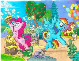 My Little Pony Friendship is Magic Cover art, covers C and D,Pinkie Pie and Rainbow Dash Comic Art