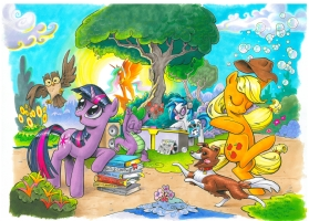 My Little Pony Friendship is Magic Cover art, covers Aand B, Twilight Sparkle and Applejack Comic Art