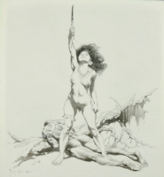 FRANK FRAZETTA  WOMEN OF THE AGES  PORTFOLIO LARGE INK DRAWING (1977)  Comic Art