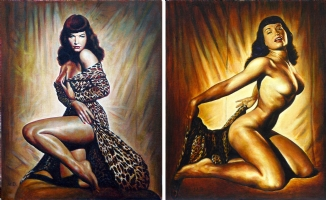 BETTIE PAGE PAINTING PAIR - OIL PAINTING Comic Art