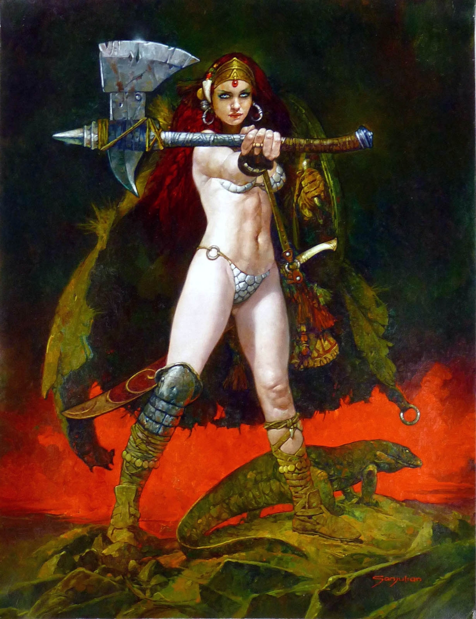 RED SONJA PAINTING ( SANJULIAN ) Comic Art