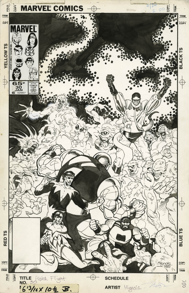 ALPHA FLIGHT #30 COVER ( 1986, MIKE MIGNOLA ) Comic Art