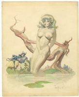 BATHING GIRL  ORIGINAL PAINTING ( 1962, FRANK FRAZETTA ) Comic Art