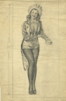 PENCIL PRELIMINARY PIN-UP ( GIL ELVGREN ) Comic Art