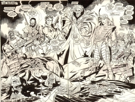 1ST JIM LEE X-MEN!!   X-MEN #248 PAGE 2 & 3 DOUBLE SPLASH Comic Art