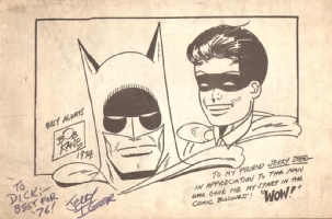 1974 BOB KANE  BATMAN AND ROBIN PAGE SKETCH Comic Art