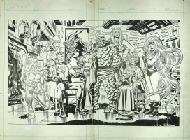 MARVEL TREASURY DOUBLE PAGE PIN-UP - FANTASTIC FOUR FAMILY PORTRAIT Comic Art