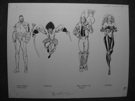 Outsiders Model Sheet 02 - Technocrat  KATANA  Faust Jr  and  LOOKER - unpublished Bryan Hitch ( JLA She-Hulk Ultimate Fantastic Four ) Comic Art