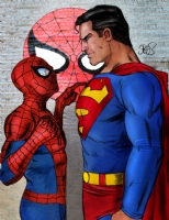 Spider-man vs Superman Comic Art
