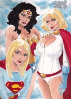 Power Girl Wonder Woman and Supergirl by Mark Spears Comic Art
