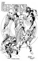 Tuska/LAyton Champions pinup Comic Art