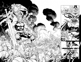 Thor and Hela Double Page Splash Comic Art