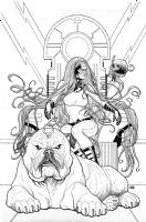 Inhuman #2 Cover - Medusa and Lockjaw, Comic Art