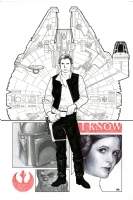Star Wars #1 Cover - Han Solo and Princess Leia, Comic Art