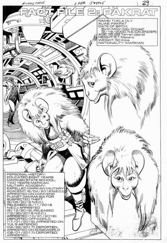 Atari Force #02. Fact File 2: Pakrat Comic Art