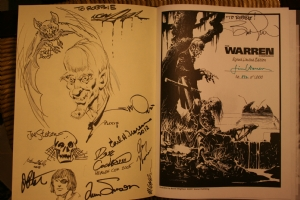 JACK DAVIS, Mike Ploog, Budd Root, Jim Starlin, Ken Gale, Neal Adams, Earl Norem, Roy Thomas, Walt Simonson, Louise Simonson, Michael Golden, Joe Staton, Bernie Wrightson personalized Warren companion with an UNCLE CREEPY sketch Comic Art