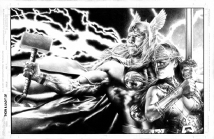 Jay Anacleto Thor and Sif  Pin Up  Comic Art