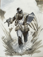WWII Captain America Comic Art