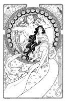 Terry Moore: Art Nouveau commission Comic Art
