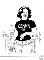 A praise for Barack Obama - Maggie in tee - Jaime Hernandez, Comic Art