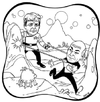 Jaime Hernandez - Capt. Picard in fight with Capt. Kirk, Comic Art