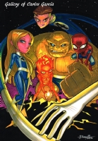 Baby Fantastic Four and Baby Spiderman by JJ Kirby Comic Art