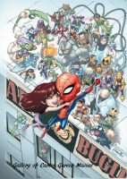 Baby Spiderman, Baby Mary Jane and Baby Rogues Gallery Colored, Comic Art