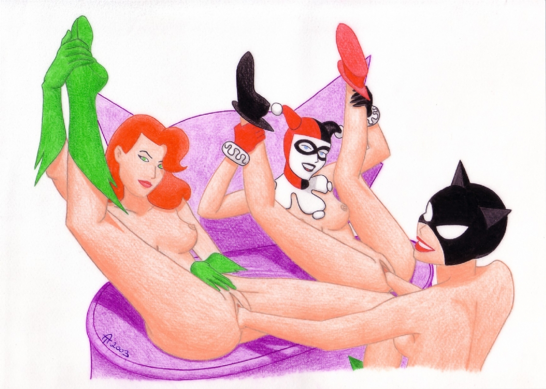 Catwoman, Harley Quinn and Poison Ivy Girlfriends (Nudity) Comic Art