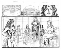 Justice League Amazons 2 page splash by Claude St. Aubin  Comic Art