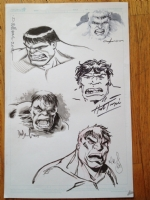 Heroes Con 2012 Hulk Jam Piece David williams Herb Trimpe Dave Wachter Mark Brooks Clayton Crain Comic Art