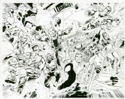 SOLD : ALAN DAVIS  WildCats Double Splash Page Comic Art