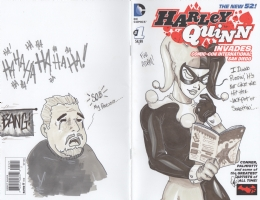 Harley Quinn with Amazing Fantasy 15 Comic Art