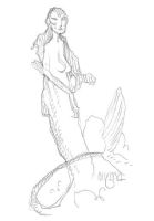 Mignola Mermaid Sister Sketch Hellboy Third wish Comic Art