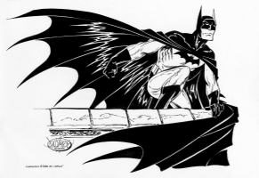 Batman on a ledge-Byrne Comic Art