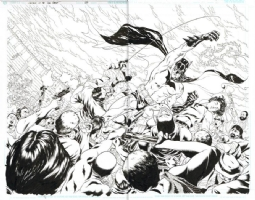 Brad Walker Batman Double Page Spread Comic Art