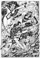 Avengers Assemble Commission by John Byrne Spider-Woman, She-Hulk, Tigra, and Ms. Marvel Comic Art