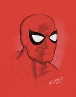 Spidey portrait on red paper! Comic Art
