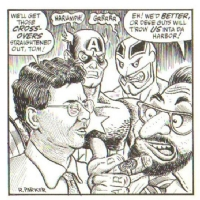 Rick Parker BULLPEN BULLETIN Gag Cartoon w/Tom DeFalco & Paul Neary / Cap Crossover, Comic Art