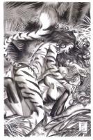 Ms. Marvel vs Tigra after greg horn Comic Art