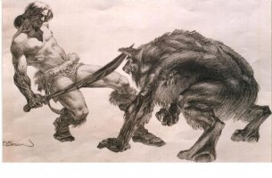 Conan vs Werewolf Comic Art