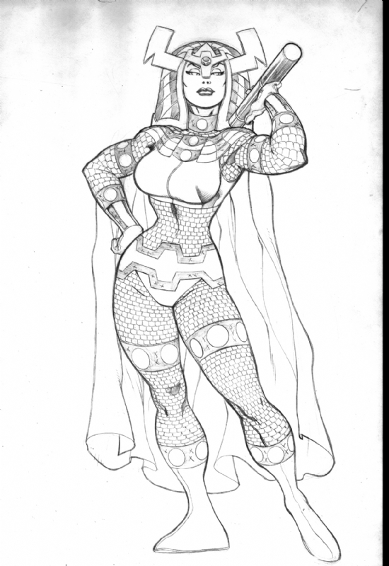 Big Barda by Ed McGuinness Comic Art