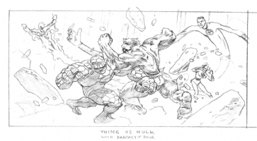 The Hulk VS. The Fantastic Four Comic Art