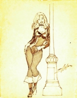 70s Adams Black Canary con sketch Comic Art