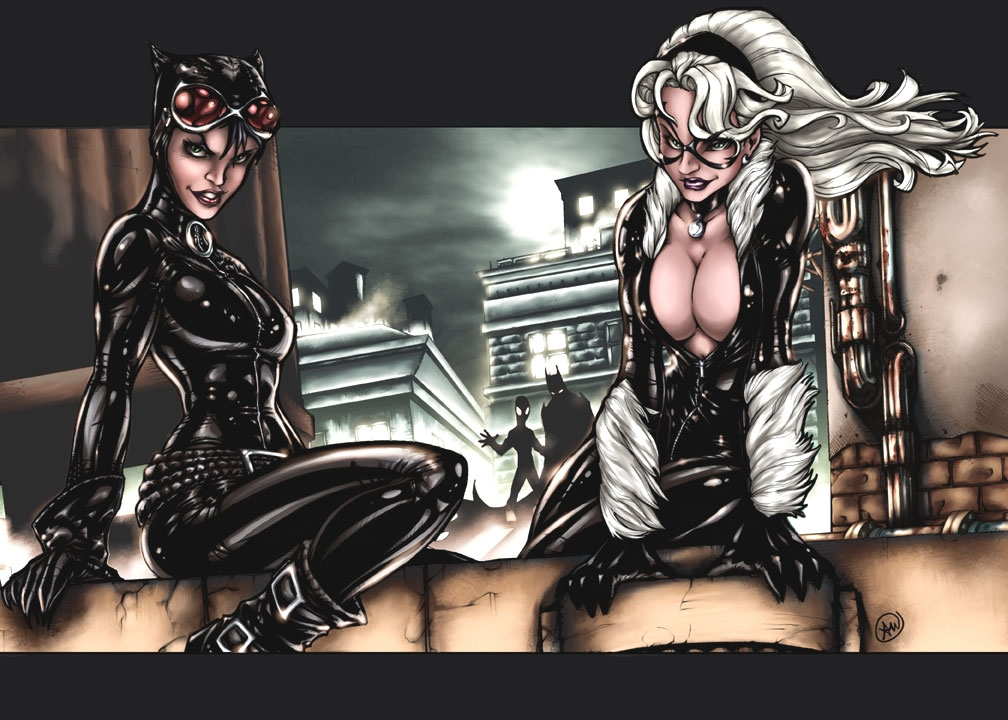 Catwoman and Black Cat, Color Comic Art