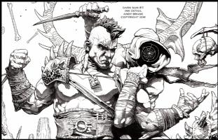 Dark Sun #1 cover: Ink Detail, Comic Art