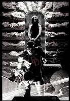 Daredevil Cover- Ink version, Comic Art